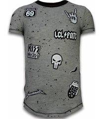 t-shirt korte mouw local fanatic longfit asymmetric embroidery - t-shirt patches - rockstar -