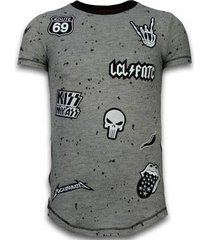 t-shirt korte mouw local fanatic longfit asymric embroidery patches rockstar
