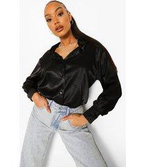 oversized satijnen pastel blouse, black