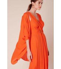 vestido cruzado frente balonê laranja guaraná