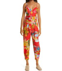 women's farm rio tropical jungle belted linen jumpsuit, size small - red
