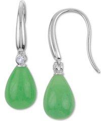 jade briolette & white topaz (1/20 ct. t.w.) drop earrings in sterling silver