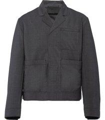prada touch-strap wool jacket - grey