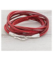 faux leather cord bracelet, 'crimson strands' (guatemala)