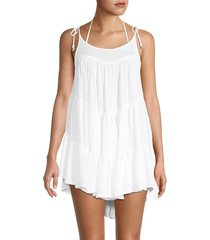 elan women's crinkle tie-shoulder coverup dress - white - size m
