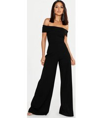 bardot wide leg jumpsuit, black