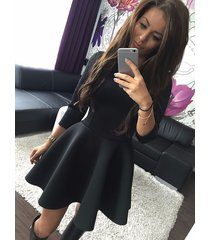 fashion women 3/4 sleeve sexy winter evening party bodycon mini skater dress