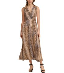 calvin klein petite snake-embossed maxi dress