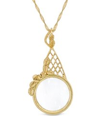 "2028 gold tone filigree magnifying glass 28"" necklace"