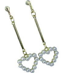 aretes dorados con corazon de perlas ar-12967