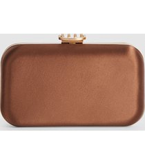 reiss nina - satin box clutch in brown, womens
