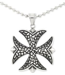 """legacy for men by simone i. smith celtic cross 24"""" pendant necklace in stainless steel"""