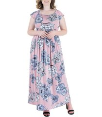 plus size rose pleated empire waist maxi dress