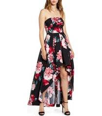 women's speechless floral print strapless high/low dress