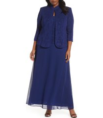 plus size women's alex evenings mock two-piece gown with jacket, size 18w - blue