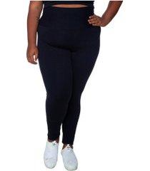 calça legging com proteção solar uv wonder size joana dark - feminina - preto