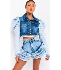 akira azalea wang two toned poplin denim jacket