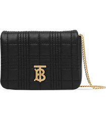 burberry micro quilted lola shoulder bag - black