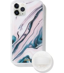 sonix blush quartz print iphone 11 pro case & slide silicone phone ring - pink