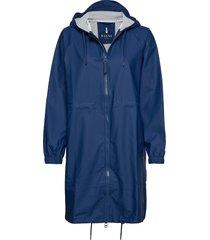 long w jacket regenkleding blauw rains
