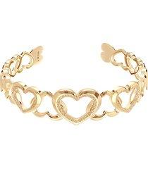 bracciale rigido in ottone oro rosa con cuori con glitter per donna