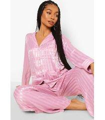 jaquard satijnen gestreepte pyjama, rose gold