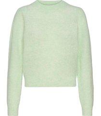 brooky knit puff o-neck stickad tröja grön second female