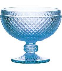 conjunto 6 taças de vidro bico de jaca coupe azul 300ml