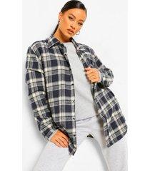 geborstelde geruite super oversized blouse, navy