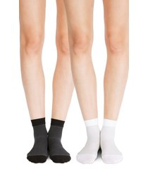 women's belly bandit 2-pack compression ankle socks, size 2 - black