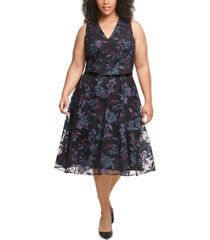tommy hilfiger plus size belted embroidered fit & flare midi dress