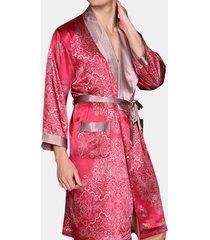 pigiama di seta con stampa domestica sexy con cintura a maniche lunghe per uomo