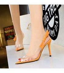 mujer taco sandalias zapatos de tacon con nudo ojal-amarillo