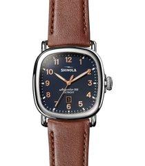 men's shinola guardian leather strap watch, 41.5mm x 43mm