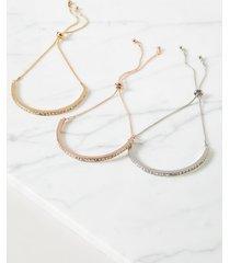 lane bryant women's 3-row sparkling stone bracelet set onesz mixed metal