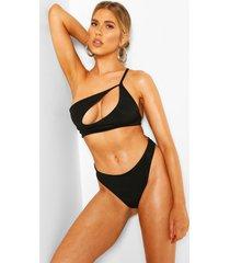 one shoulder cut out high leg bikini, black