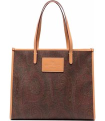 etro globetrotter tote in paisleyt fabric