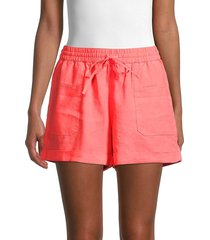 pure navy women's linen drawstring shorts - neon coral - size xl