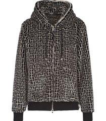 balmain ivory and black faux fur sweatshirt