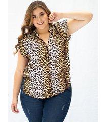 blusa adrissa tallas plus cuello neru estampacion animal print