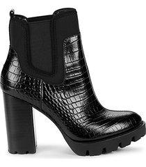 grady croc-embossed leather stack-heel booties