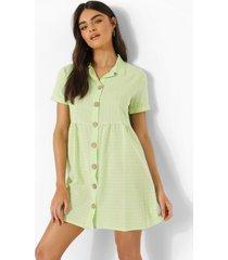 gestreepte gesmokte blouse jurk met knopen, lime