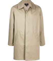 a.p.c. single-breasted car coat - neutrals