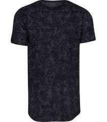 camiseta masculina botonê floral preto