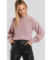 na-kd balloon sleeve round neck sweater - pink