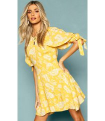 floral puff shoulder tie sleeve skater dress, yellow