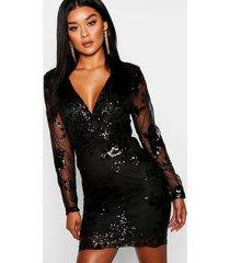 boutique sequin print mesh bodycon dress, black