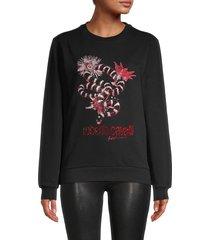 roberto cavalli women's embellished logo sweatshirt - black - size xs