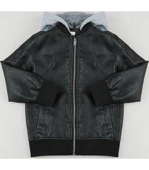 jaqueta bomber infantil com matelassê e capuz em moletom preta