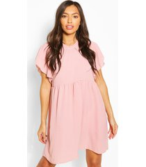frill sleeve and neck smock dress, rose